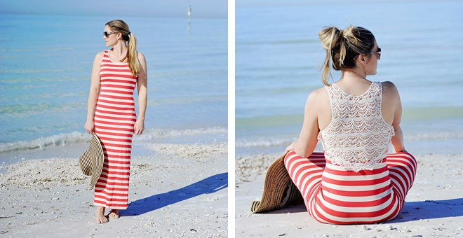 Striped Maxi Dress with Crochet Detail