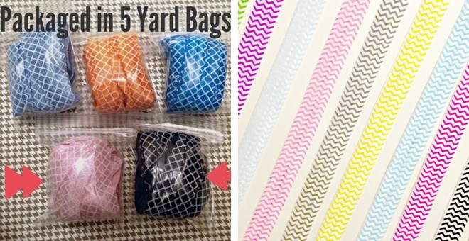 BLOWOUT PRICE! Chevron & Quatrefoil Elastic by the Yard! 5 Yard Packs - 18 Colors – Perfect for DIY Accessories