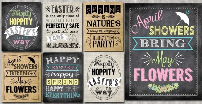 Easter & Spring Typography Prints – Chalk, Burlap or Linen