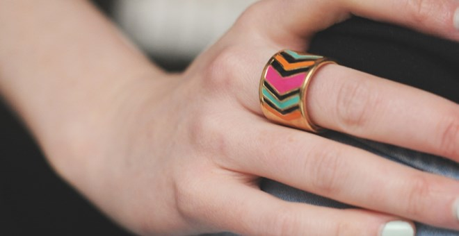 Chevron/Gold Tone Ring