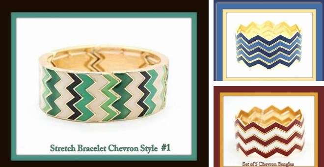 Thick Chevron Bracelets Stretch & Bangle Styles