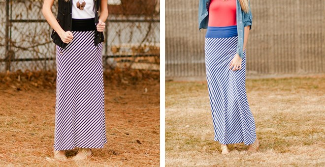 Thin Stripe Maxi Skirt
