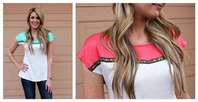 Embellished Colorblock Blouse - It's Back!
