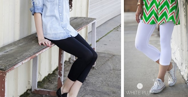White Plum's Solid Colored Capri Leggings! 8 Colors Available!