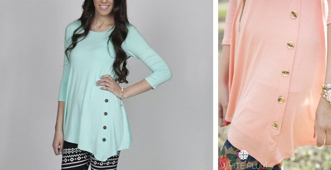 Geneva Button Tunic! 13 Color Options! Sizes S-3XL available