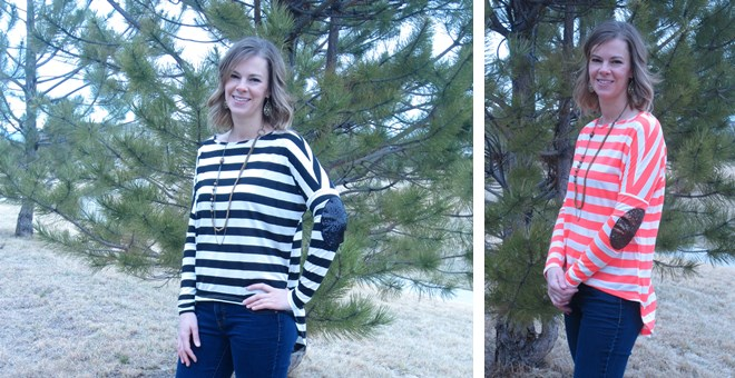 Striped High-Low Top with Sequin Elbow Patches