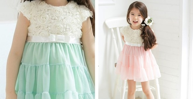 Spring Shabby Chic Rosette Girls Dress PERFECT for Easter