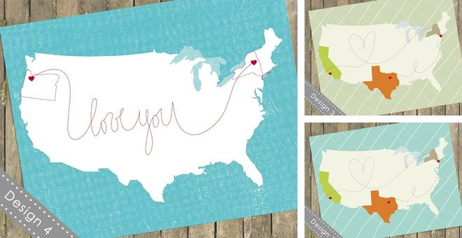 11x14 Customized USA Maps