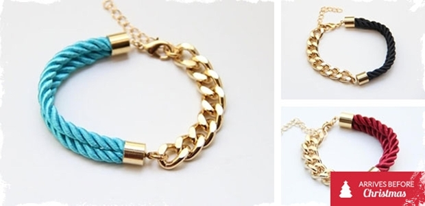 Gold Chain Link Bracelet with Twisted Colored Rope - 8 Colors to Choose From!