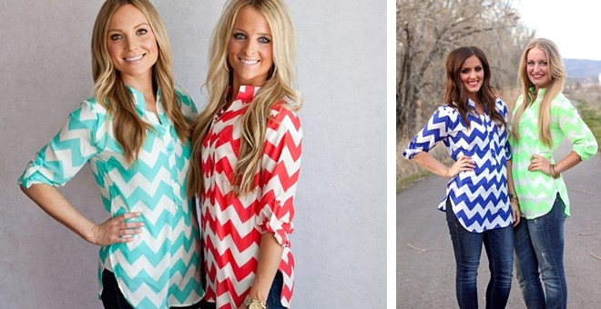 Chevron  Button Up Top