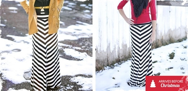 Black & Winter White Chevron Maxi - 4 Sizes!