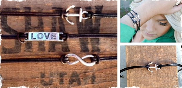 Leather Anchor Bracelet, Leather Love Bracelet, Leather Infinity Bracelet! Set of 3!