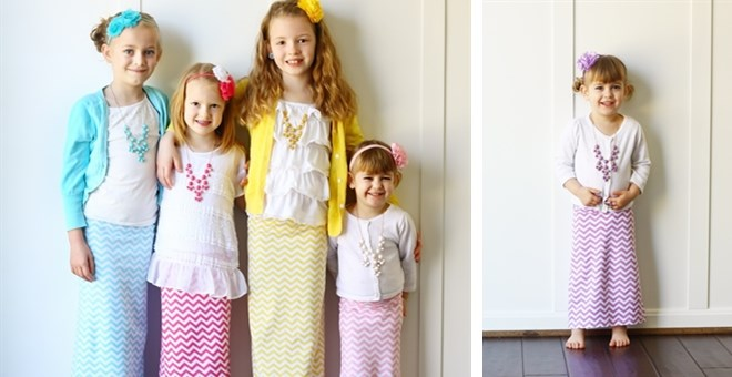 Kid's Chevron Maxi Skirts-Quick Ship!