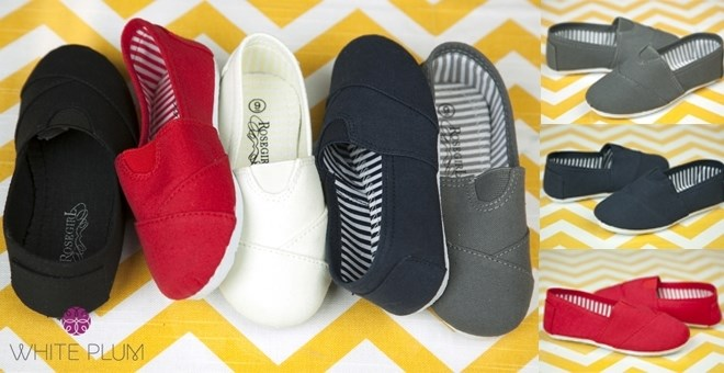 Kid's Designer Inspired Canvas Slip-on Shoes! 5 Color Options!