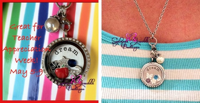 Customized Floating Locket with Chain, Stamped Plate, FIVE Charms and a Dangle!