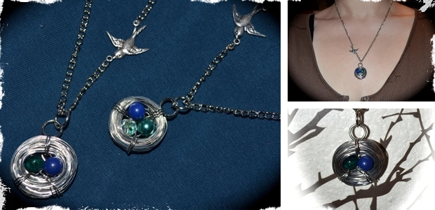 Handmade Bird's Nest Birthstone Necklace