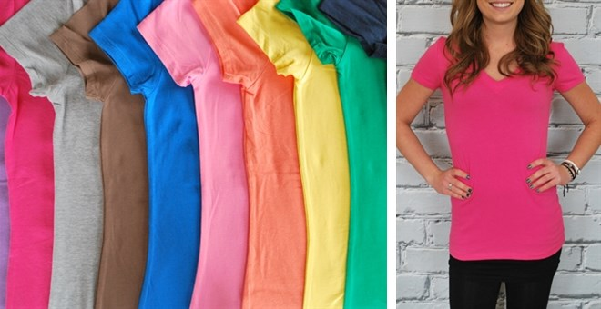 They're Back!  Extra Long V-Neck Shirts - S-3XL - 24 colors