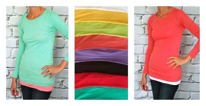 Extra Long Lightweight Long Sleeve Crew Necks - 12 colors