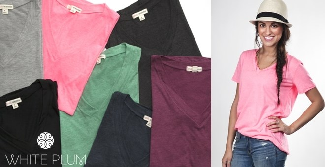 V-Neck Boyfriend Tee! 6 Color Options!