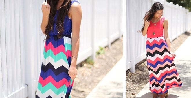 Two Tone Chevron Maxi Dress- S-XL