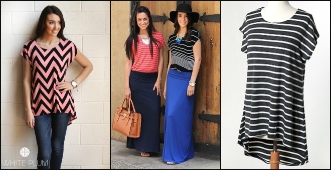 Striped and Chevron Brigitte Tunics! S-XL Sizing!18 Color Options!