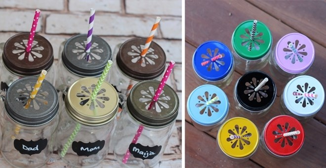 {6} Daisy Mason Jar Lids, optional Pulp Liners, 13 Colors, Set of 6, Made in USA