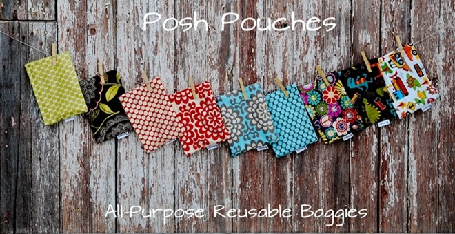 Snack Size Posh Pouch 8X6...Fun, Handmade Reusable Baggies!