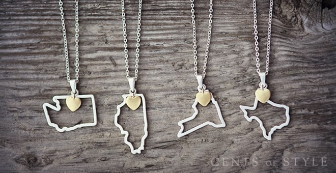 50 U.S. States Pendant Necklaces