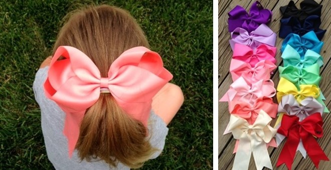 "Pony Tail bow 6"" on alligator clip"