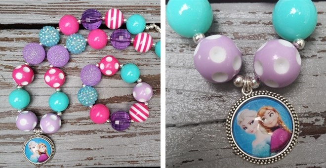 *Frozen* Elsa And Anna Chunky Bubblegum Necklace Set
