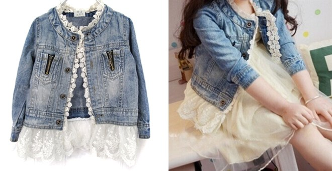 Girl's Lace Trimmed Denim Jacket