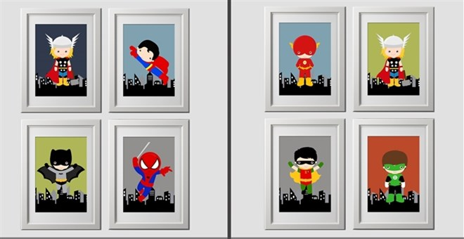 4 color customized superhero prints, 8x10 inch prints