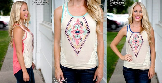Aztec Tank with Lace
