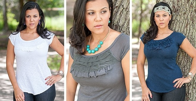 Ruffle Cotton Tee Top - 9 colors