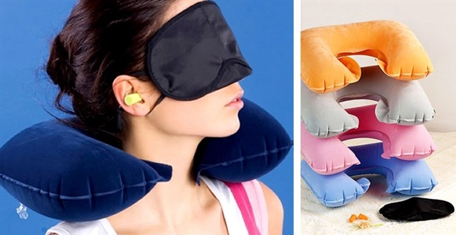 Combo Inflatable Neck Travel Pillow Head Rest + Ear plug + Eye sleep mask