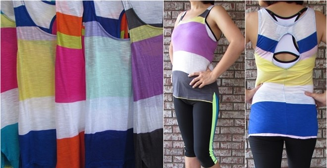 Workout layering Colorblock striped Tanks