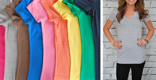 They're Back!  Extra Long V-Neck Shirts  - S-3XL - New Colors - 24 colors