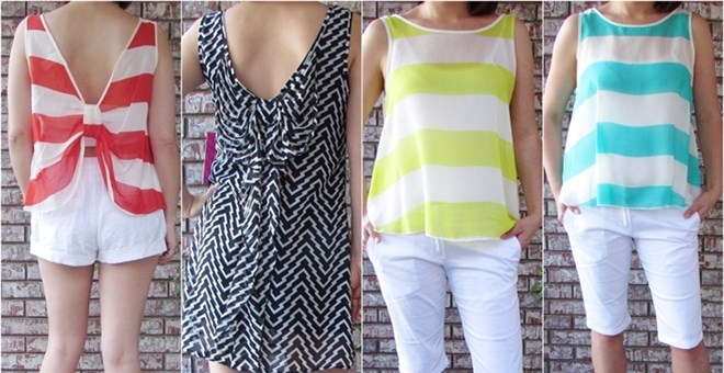 Made in USA  Bow back striped tops Blow out