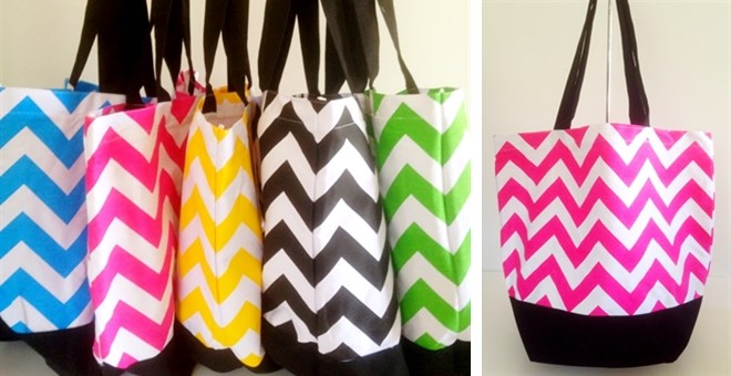 Canvas Chevron Tote Bags