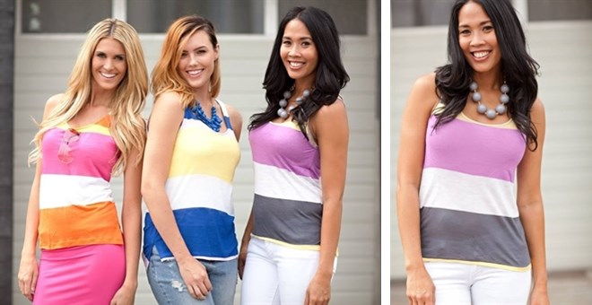 Color Block Stripe Tanks! 4 Colors!