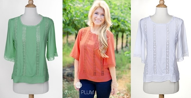 Karen Embroidered Blouse! S-3XL Sizing! 3 Colors!