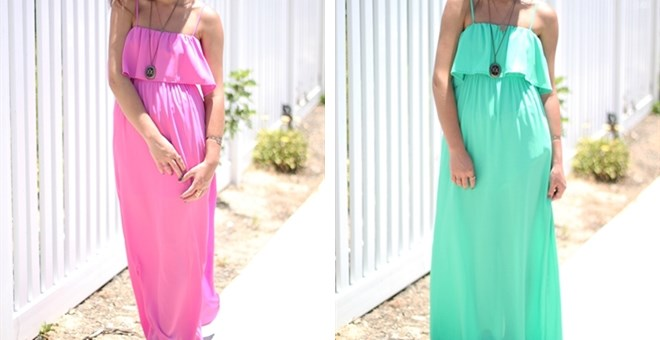 Tiered Chiffon Maxi Dress