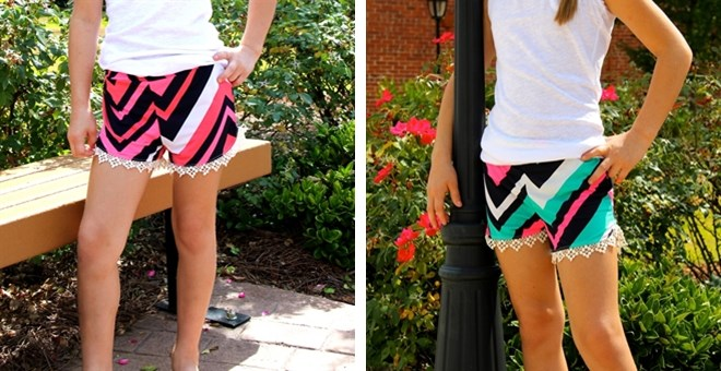 Kids Chevron Lace shorts