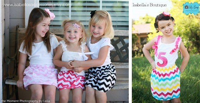 - CLEARANCE SALE - Girls Chevron Skirts -Perfect for Back to School-