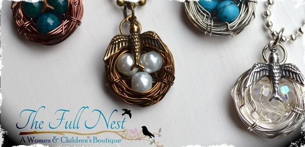 Handmade Bird's Nest Birthstone Necklace-4 Colors & up to 8 Eggs!