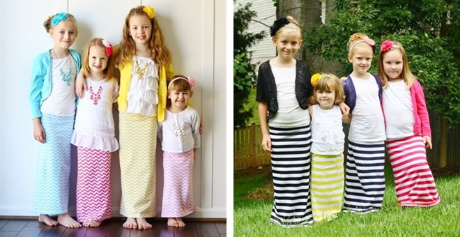 Kid's Maxi Skirts-Stripes and Chevron!