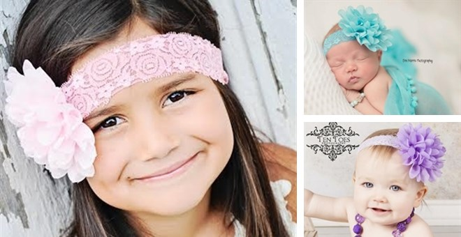 Lace and Chiffon Flower Headband for All Ages