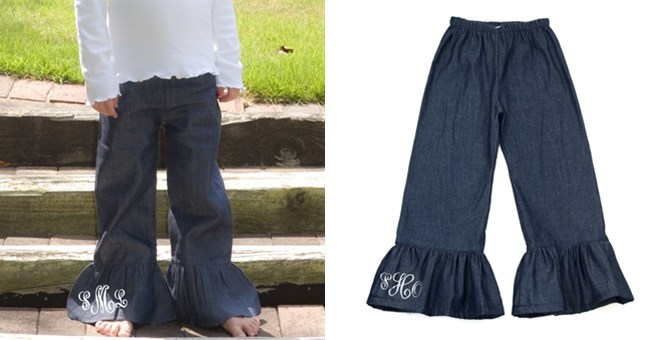Personalized Denim Ruffle Pants