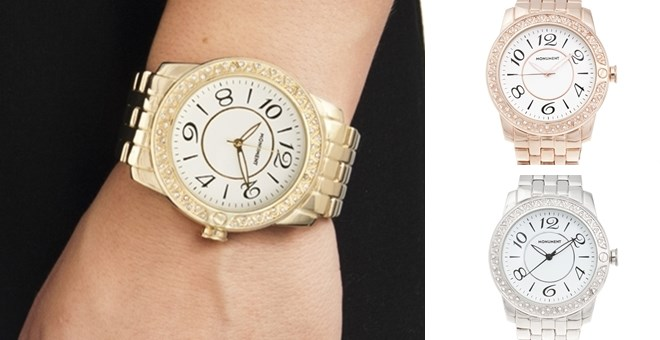 Monument Women's 'Crystal Analog' Alloy Watch