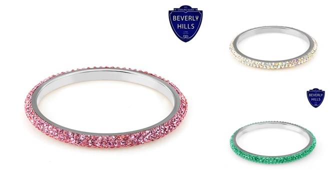 Sterling Silver Eternity Swarovski Elements Bangle-24 colors